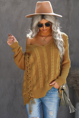 Yellow Love Letters Cable Knit Lace Up Sweater