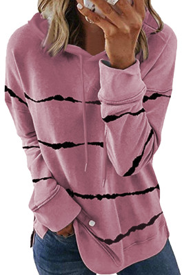 Pink Tie-Dye gestreifter Kordelzug Hoodie mit Side Split
