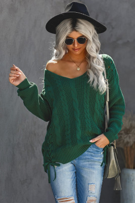 Green Love Letters Cable Knit Lace Up Sweater