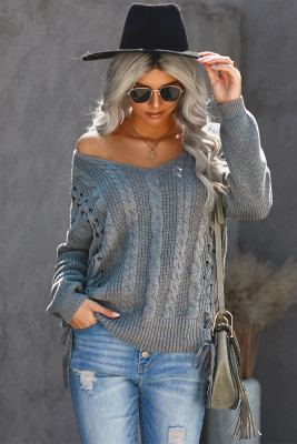 Suéter gris con cordones de punto de ochos Love Letters