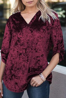 Wine V Neck Roll-tab Sleeve Velvet Top