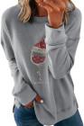Graues Drop-Sleeve-Modedruck-Weihnachts-Sweatshirt