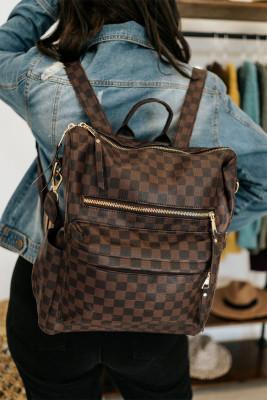 حقيبة قابلة للتحويل بنمط منقوش بني