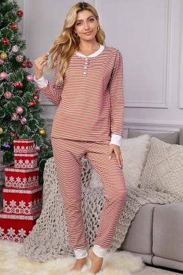 Red Split Neck Striped Button Christmas Lounge Set with Contrast Trim