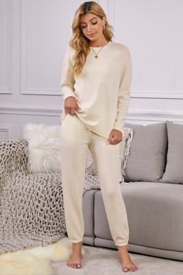 Ribbed Texture Pocketed Drawstring Lounge Set