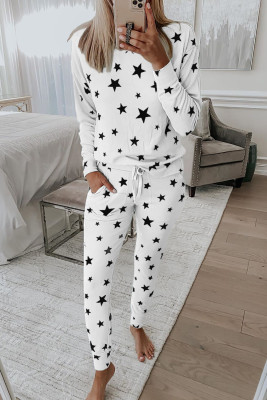 White Star Print Pocket Drawstring Lounge Set