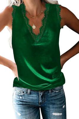 Débardeur vert habillé à col en V en dentelle et cils