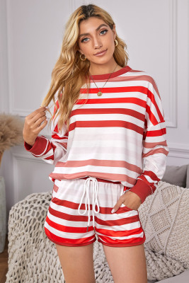 Red Gradient Stripes Home Casual Suit
