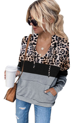 Grauer Leopard, der Kangaroo Pocket Drawstring Hoodie spleißt