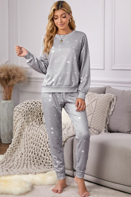 Gray Star Print Long Sleeve Top & Drawstring Pants Loungewear