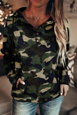 Grüner Camo Button Collar Kordelzug Pullover Fleece Hoodie