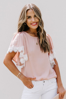 Pink Satin Lace Flutter Sleeve Top