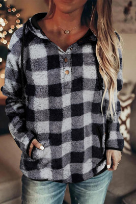 Black Plaid Button Collar Kordelzug Pullover Hoodie