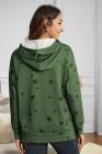 Green Star Print Hoodie mit Seitenschlitzen