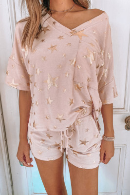 Pink Star Print V Neck Tee and Drawstring Shorts Lounge Set