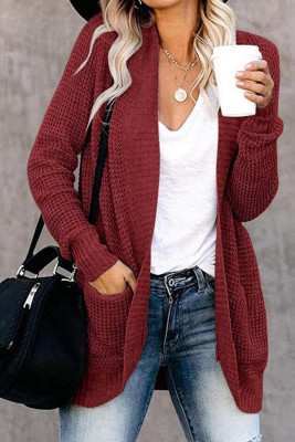 Pocket Knitted Solid Color Cardigan
