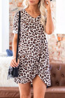 V Neck Leopard Print Asymmetrical Mini Dress