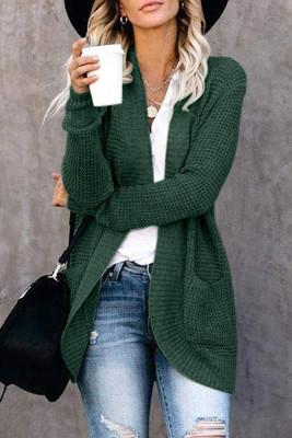 Cárdigan verde de punto de color liso con bolsillo