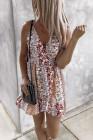 فستان بوهو قصير برقبة دائرية وطبعة زهور