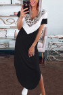 Black V Neck Contrast Leopard Print Short Sleeves Split Maxi Dress