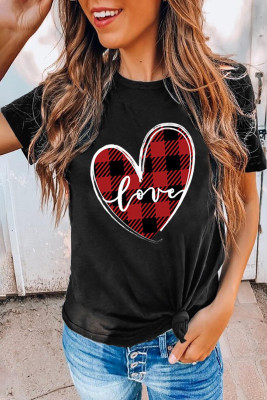 Black Plaid Splicing Heart Tee