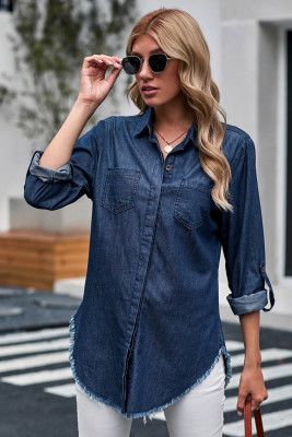 Blue Roll up Long Sleeves Frayed Hem Denim Shirt