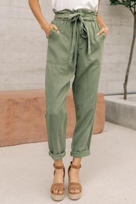 Pantalones casuales con cintura elástica de bolsa de papel verde