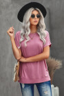 Pink Round Neck Short Sleeve Solid Color Tee