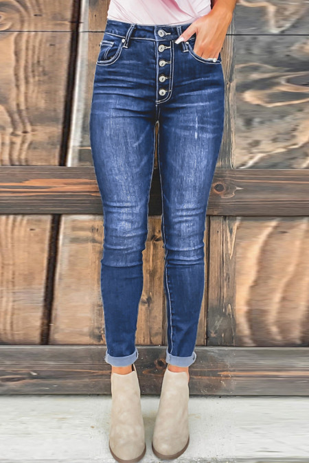 Blue High Rise Skinny Button Fly Jeans