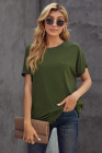 Green Round Neck Short Sleeve Solid Color Tee