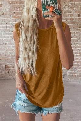 Brown Round Neck Cotton Blend Tank