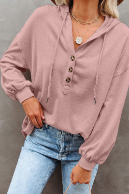 Pink Buttoned High und Low Hem Hoodie