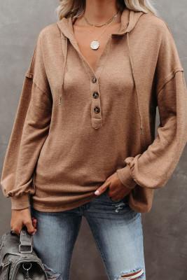 Brown Buttoned High und Low Hem Hoodie