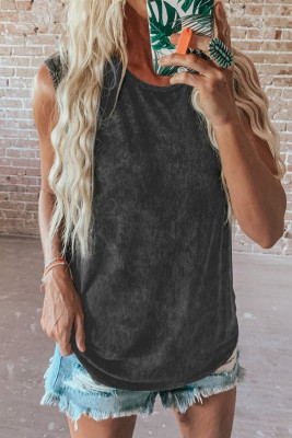 Black Round Neck Cotton Blend Tank