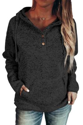 Schwarzer Pullover mit Druckknopf und Druckknopf