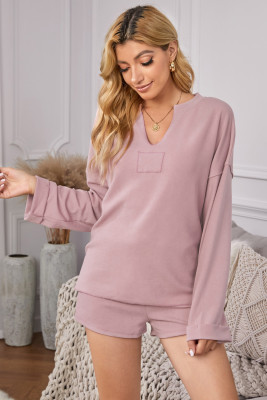 Pink Inverted Knit Pullover Shorts Set