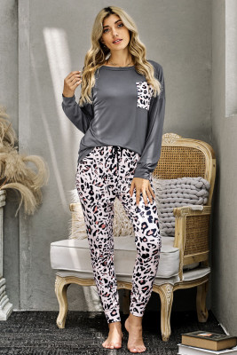 Gray Casual Long Sleeve Leopard Pants Loungewear Set