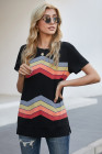 Black Colorful Wavy Stripes Print Short Sleeve Tee