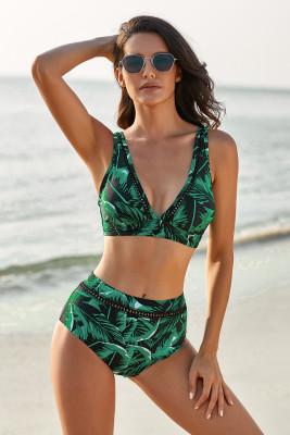 Bikini de talle alto con cuello en V estampado tropical verde