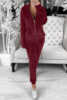 Burgundy Fleece Hoodie and Pants Sportswear
