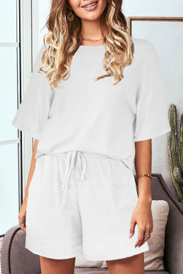 White Crew Neck Short Sleeve Ribbed Lounge Set