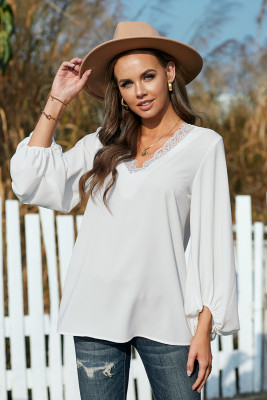 White Lace V Neck Balloon Sleeves Top