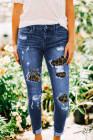 Patches von Leopard Denim Distressed Jeans