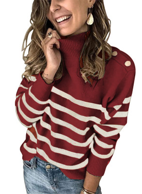 Wine Striped Turtleneck Sweater with Buttons