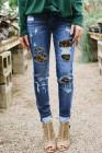 Патчи джинсовых рваных джинсов с леопардовым принтом