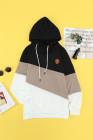 Schwarzer Colorblock Cowl Neck Pullover Hoodie