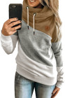 Mehrfarbiger Colorblock Cowl Neck Pullover Hoodie