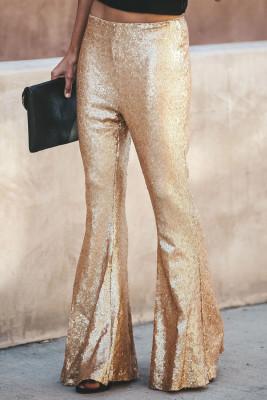 Pantalones de moda con parte inferior de campana de lentejuelas doradas