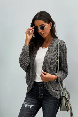 Gray Chunky Knit Solid Cardigan with Pocket