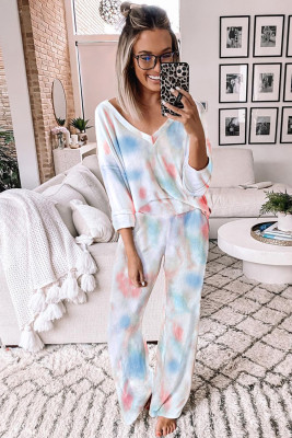 Deep V-neck Dropped Shoulder Tie-dye Lounge Set